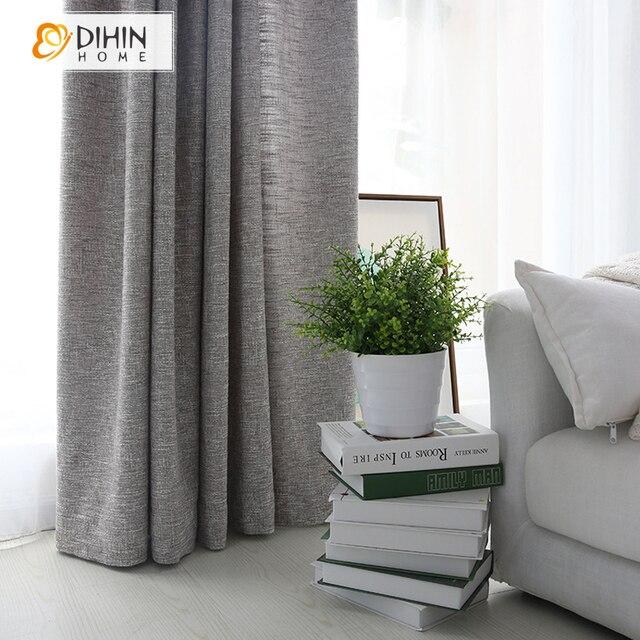 DIHIN HOME moderne gris couleur lin tissu rideaux pour salon demi ...