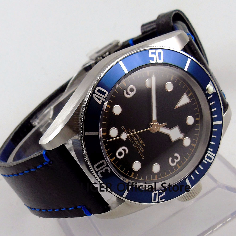 Solid 41MM Black Sterile Dial Blue Alloy Bezel Luminous Marks Sapphire 21 Jewels MIYOTA Automatic Movement Mens Wristwatch 71Solid 41MM Black Sterile Dial Blue Alloy Bezel Luminous Marks Sapphire 21 Jewels MIYOTA Automatic Movement Mens Wristwatch 71