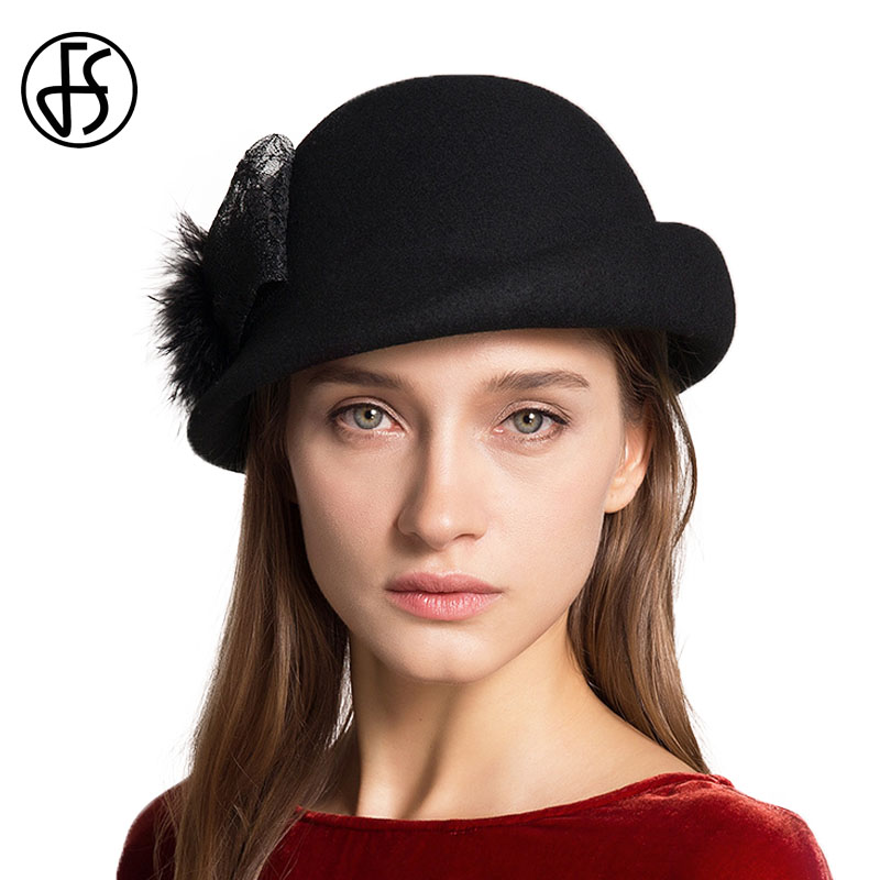 bf0f09cfb74 FS Female French Felt Cloche Hat Winter 100% Wool Fedoras Elegant Bow Fedora  Black Lady Church Hats Women Bowler Cap