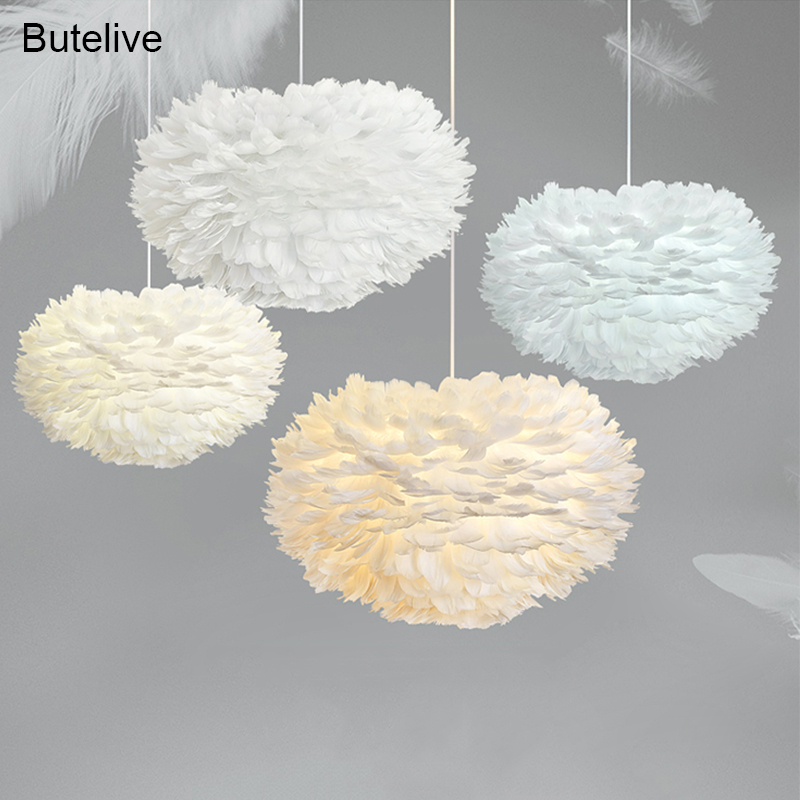 Modern Pendant Lights Feather Lamp Bedroom Hanging Lamp Goose Feather Hanglamp Loft Nordic Pendant Lamp Living Room Bedside E27