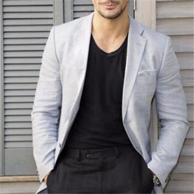c9ee8a9aa0e9 Casual Light Grey Coat Black Pant Men Suit 2Pieces(Jacket+Pant) Terno Slim  Notch Lapel Latest Design Custom Made Blazer