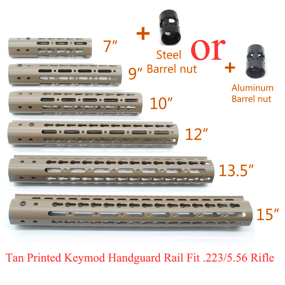 TriRock Tan Imprimé 7''9''10''12''13. 5''15'' Keymod Handguard Rail Free Float Picatinny Mount Système avec En Aluminium/Acier Écrou