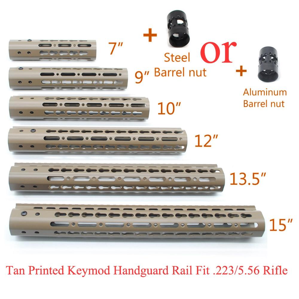 TriRock Tan Printed 7''9''10''12''13.5''15'' Keymod Handguard Rail Free Float Picatinny Mount System with Aluminum/Steel Nut стоимость
