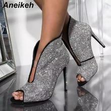Aneikeh/ г. Весенние ботильоны из PU искусственной замши женская обувь с глубоким v-образным вырезом и стразами ботинки «Челси» на высоком каблуке, туфли-лодочки слипоны на тонком каблуке