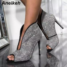 Aneikeh 2019 Spring Faux Suede Ankle Boots Deep V Rhinestone Women's Shoes High Heels Chelsea Boots Pumps Slip-On Thin Heel