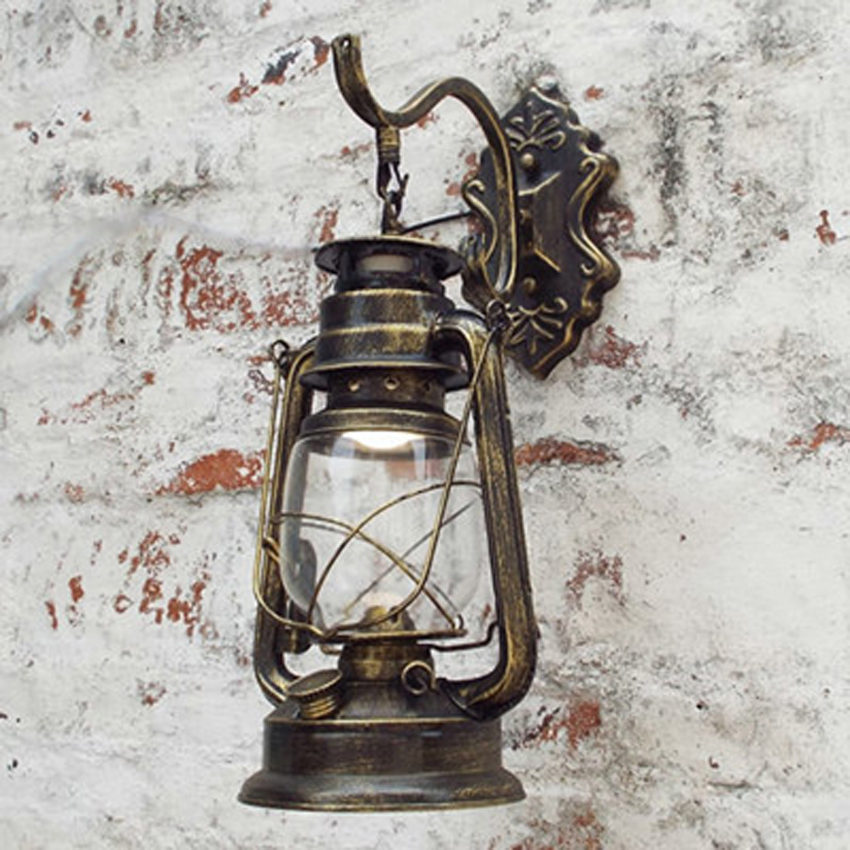 Retro Barn Lantern European kerosene wall lamp bedroom bedside wall sconce,Wrought Iron glass restaurant bar aisle light fixture retro european pastoral style lantern kerosene wall lamps e27 lights sconce for restaurant bar bathroom bedside bedroom hallway
