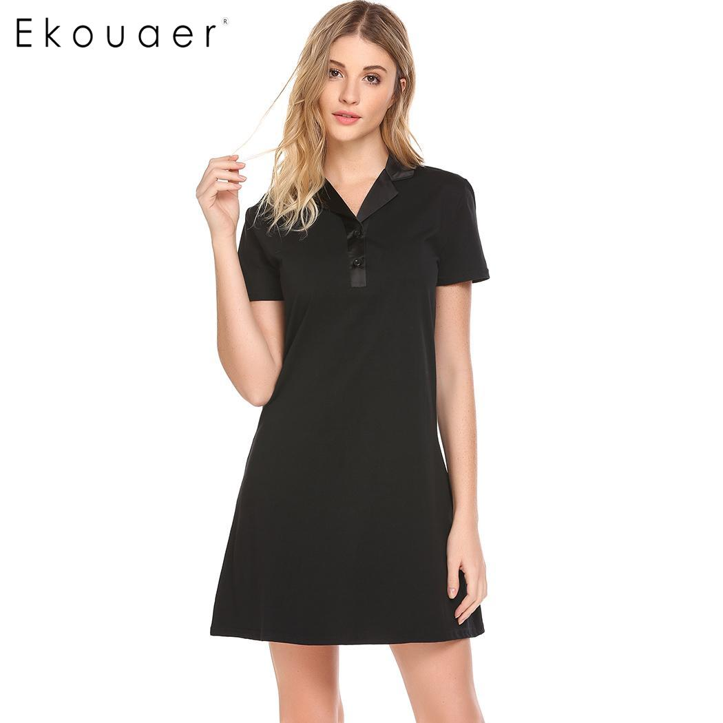 Ekouaer Women Chemise Sleepshirts Dress Cotton Nightgown Turn-Down Collar Solid Basic Night Dress Female Sleepwear Soft Clothes