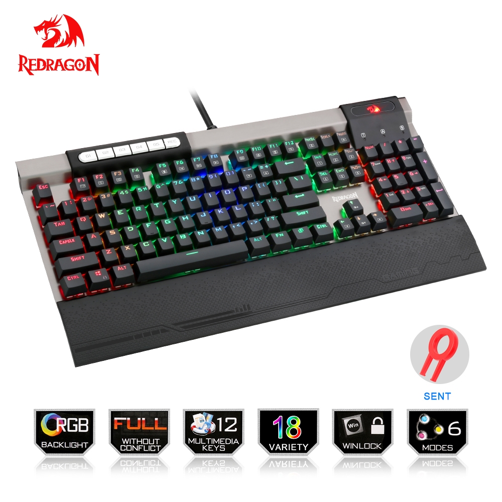 Redragon USB mechanical gaming keyboard ergonomic RGB color LED backlit keys Full key anti-ghosting 104 wired PC Computer game walkie talkie 5re 136 174 400 520 fm 65 108 5r usb uv 5re
