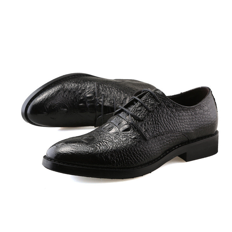 Crocodile Pattern Pointed Toe Pace Up Patent Leather Wedding Mens