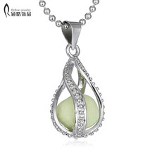 Teardrop Glow in Dark Pendant Necklace Vintage Glowing Jewelry for Men NEW Fashion Women The Little Mermaid's(China)