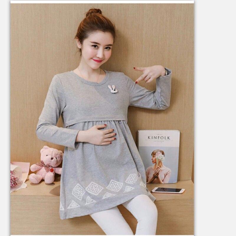 BAHEMAMI fashion pregnant women dress 2018 maternity dress spring and autumn new Korean long-sleeved fashion printing long mater