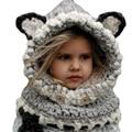 2016 Coif 3D Ears Animal Knitted Caps Fox Headwear Winter Kids Boy Girl Hats Children Warm Knitted Hooded Scarf Hat Kids Gifts