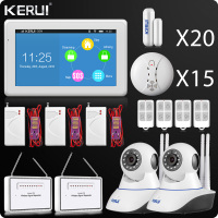 DHL 2018 Kerui Latest Touch Screen WIFI GSM Alarm 7 Inch TFT Color Display Home Alarm System Security Wifi Camera Smoke Detector