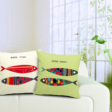 Fish Linen Cushion Cover Printed Environmental Cartoon Animal Square Decorative Sofa Pillow Case 45*45cm
