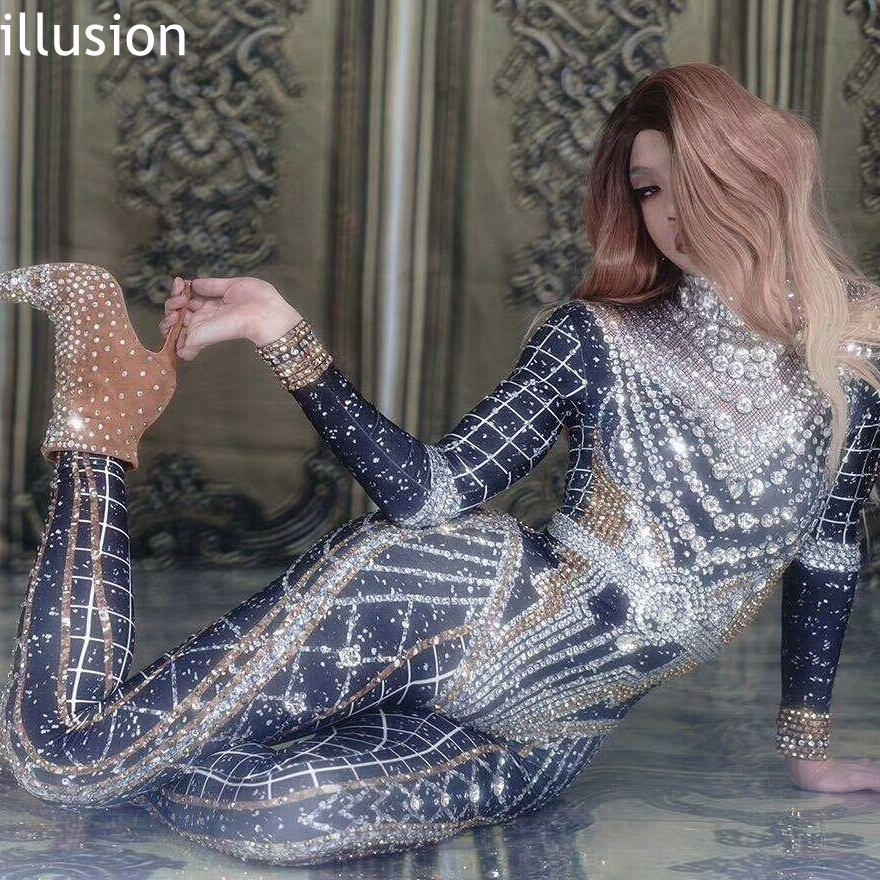 Sparkly Rhinestone Crystal   Jumpsuit   Women Long Sleeve Spandex Nightclub Bar Prom Party Outfit Singer Jazz Dance Stage Costume