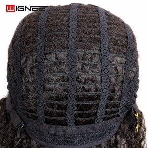 Image 5 - Wignee Korte Haar Afro kinky Krullend Synthetische Pruik Voor Zwarte Vrouwen Vrouwelijke Pruiken Hoge Dichtheid Temperatuur Hittebestendige Machine Pruik