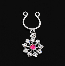 Fashion Plating Chrysanthemum Bars 14G 316L Surgical Steel  Alloyl Nipple Ring Flowers Clip On Nonporous Piercing Body Jewelry