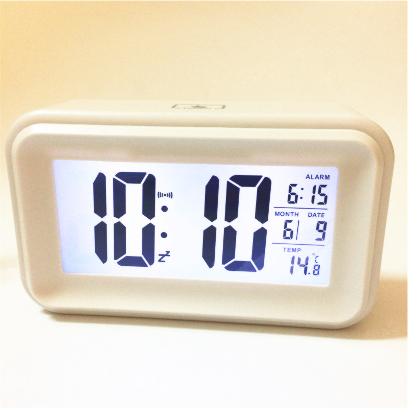 2018 hot! Led alarm clocks temperature date backlight snooze LED digital desktop clock light sensor 1017awhite-Clock