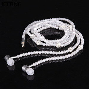 Image 2 - New Pink rhinestone Jewelry Pearl Necklace Earphones With Microphone Earbuds for iphone Xiaomi Brithday Gift