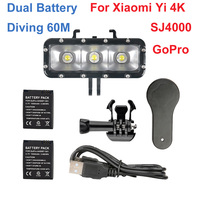 Dual Battery LED Flash Video Light Gopro Hero4 3 Session Waterproof Diving Fill Night Lamp For