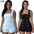 New Fashion 2017 Casual Regular Gold Buttons Rompers Womens Short Jumpsuit Sexy Sleeveless Zip Plus Size White Bodysuits Black