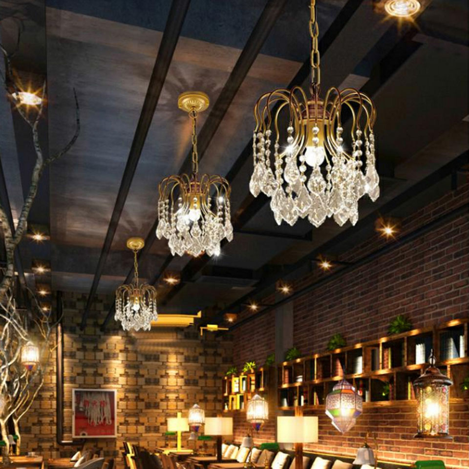 LED Crystal Chandeliers Golden Iron Lamp Indoor Lighting Home Decoration Living Room Hotel Restaurant CoffeeLED Crystal Chandeliers Golden Iron Lamp Indoor Lighting Home Decoration Living Room Hotel Restaurant Coffee