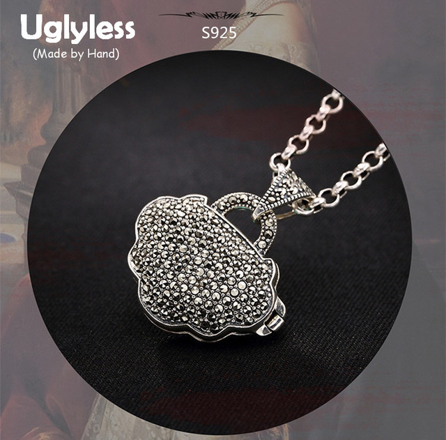 Uglyless real 925 sterling silver marcasite pendant without chain uglyless real 925 sterling silver marcasite pendant without chain women ethnic heart jewelry hollow opening gaudencio aloadofball Choice Image