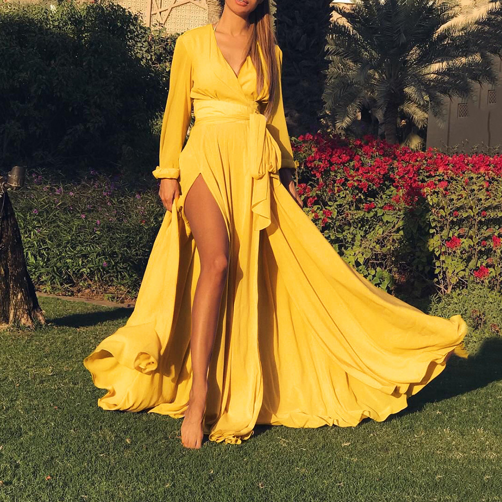Summer Long Sleeve Women Yellow Maxi Dress Sexy V Neck Belt Laced Up Tunic Plus Size High Waist Side Split Red Long Dress 2019