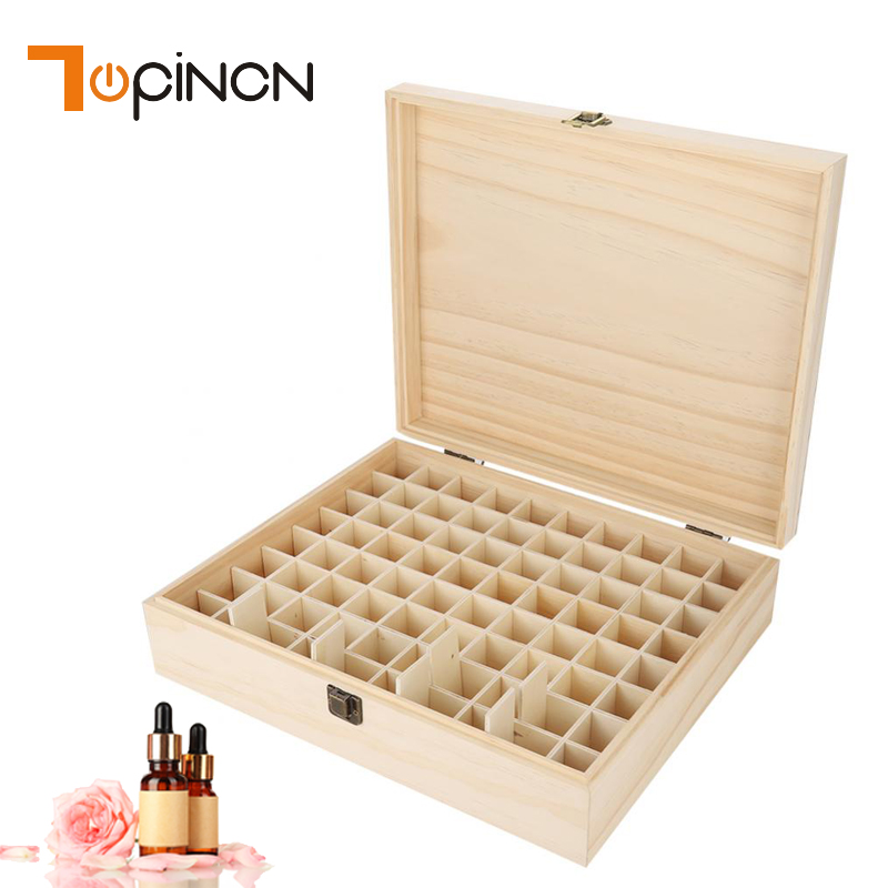 Natrual Single layer Wooden Large Essential Oil Storage Box Case Container 74 Bottles Aromatherapy Organizer Storage