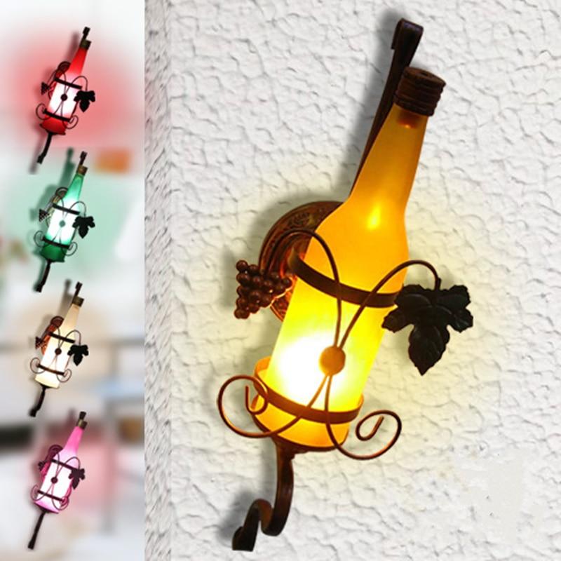 E27 Vintage Rustic Sconces Beer Bottle Wall Lamp Bar Bedroom Hallway ...