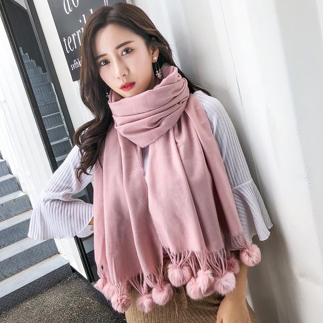 Women Solid Color Cashmere   Scarf   With Rubbit Fur Ball Winter   Scarf   High Quality Female Pashmina   Wrap   Shawl   Scarf   2018 New   Scarf