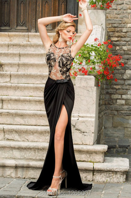 b88e447b3b Sexy O Neck See Through Gold Lace Open Back Side Slit Long Black Prom  Dresses Gown 2016 New Backless Formal Maxi Dress