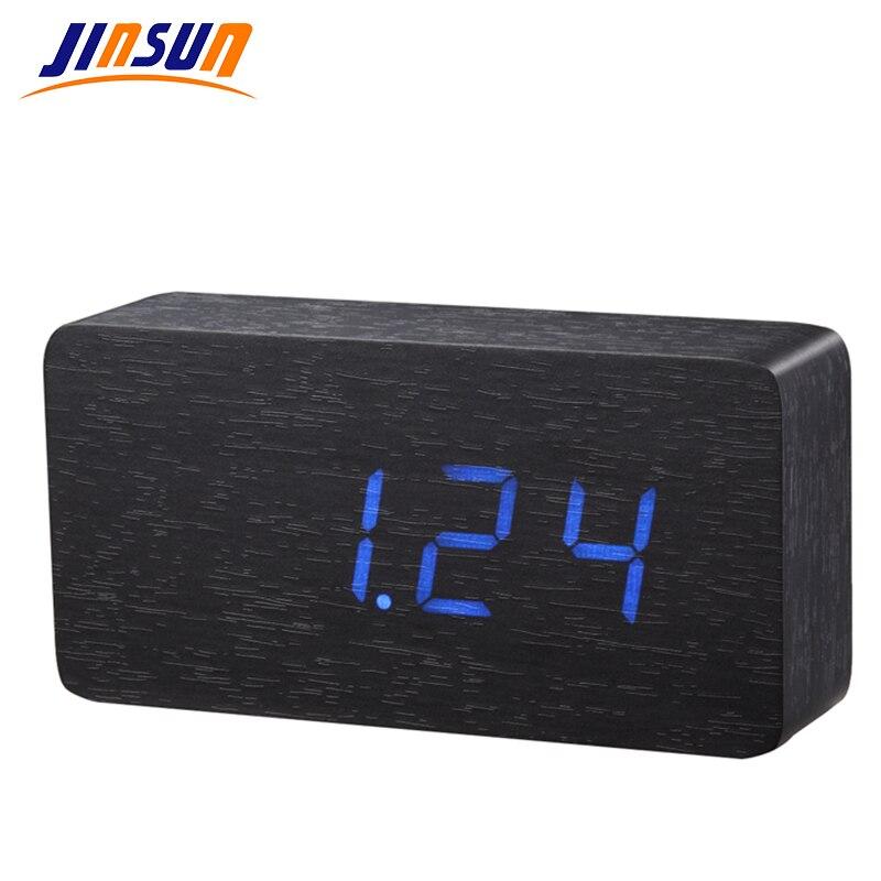 JINSUN LED Dřevěná deska budíkTeplotní teploměr digitální stolní hodiny hlasem aktivovaný KSW105