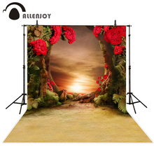 Allenjoy Red flower Tree Grassland Background for photography Photo curtains photographic camera backdrop vinyl excluding stand