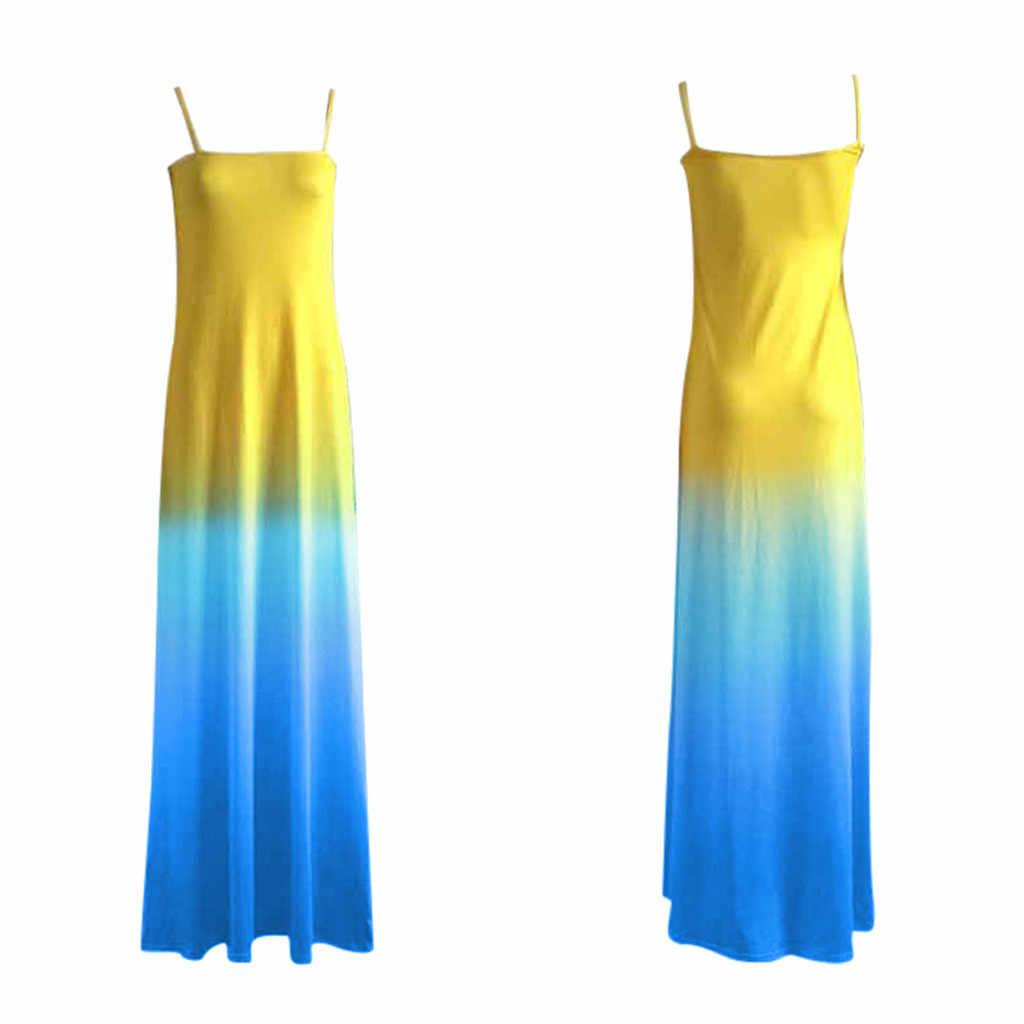 Вечерние платья, Сарафан Vestidos de festa, сексуальное модное платье на бретельках, градиентное платье, длинное платье, достаточно в наличии, круглый вырез