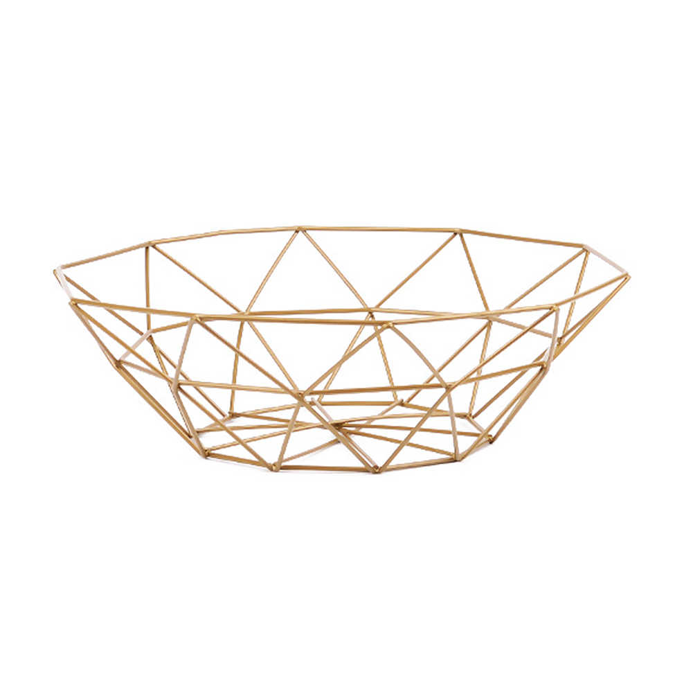 Creative Geometric Storage basket  Fruit Vegetable Wire Basket Desktop Kitchen Decor iron Hollow Storage Basket
