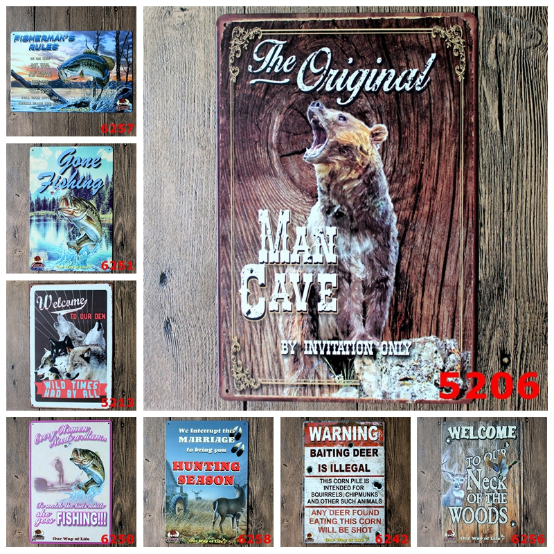 ⓪ Low price for fishing tin sign and get free shipping