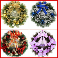 30cm Christmas Plastic Wreath Decoration For Door Wall Gate On Christmas Festival Gold Red Blue Purple