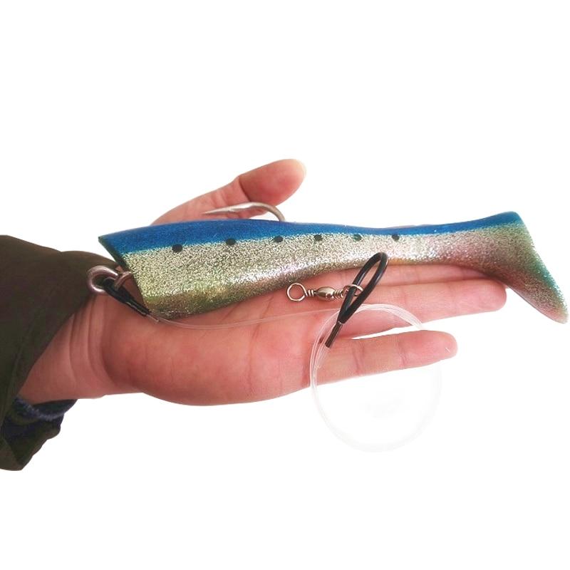 Ucok 1 قطعة / الحزمة كبير الأسماك الاصطناعية لينة 65 جرام -95 جرام التصيد إغراء الطعم أعماق البحر التونة السحب تحلق الأسماك لعبة كبيرة كبيرة إغراء الطعم البحر