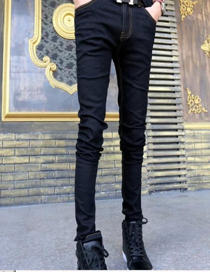2017 New Product Zipper Fly Solid Midweight Pencil Pants Promotion Men Jeans Distressed Slim Elastic Denim Biker Hiphop Pants