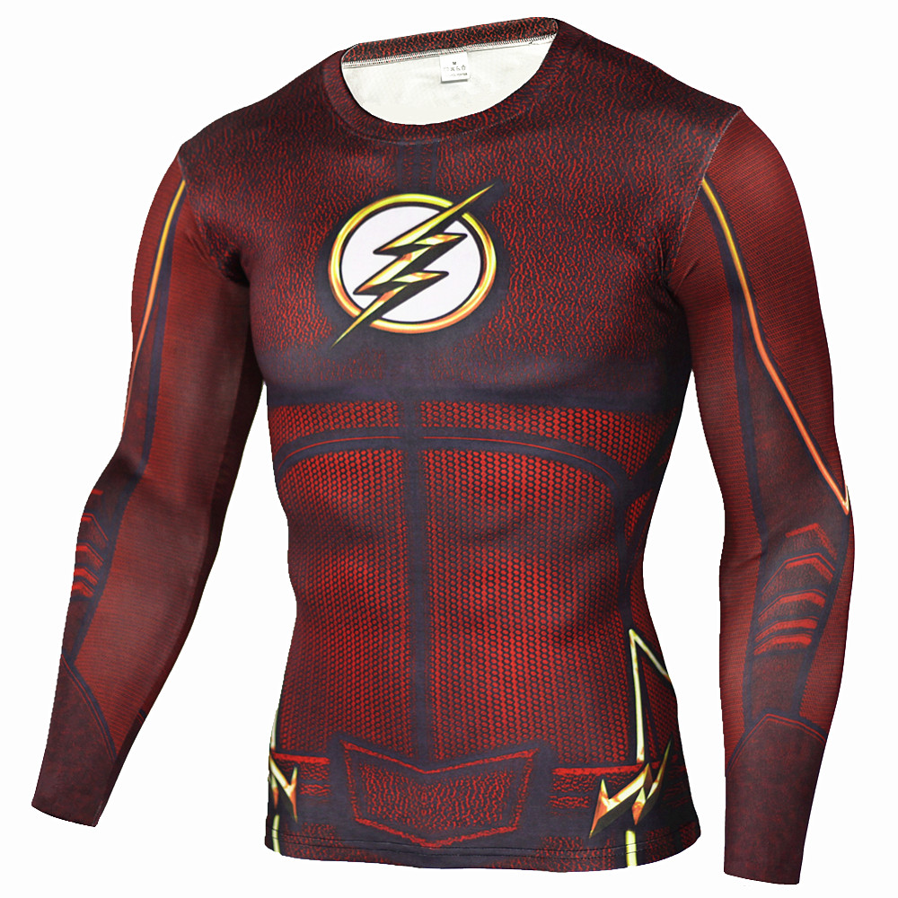 Mens anime the flash barry allen 3d printed t shirts for Compressed promotional t shirts
