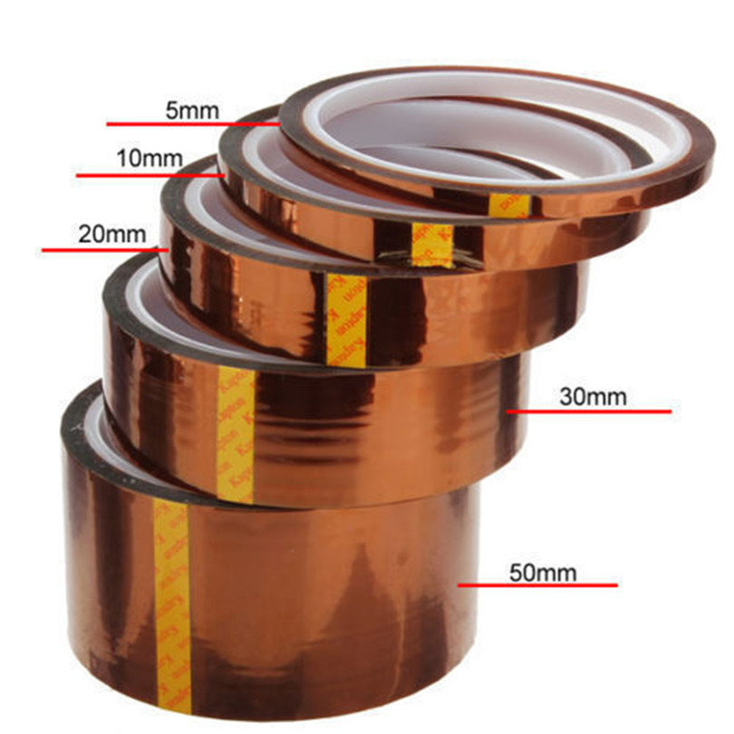 5/10/20/30/50mm 33m 100ft Kapton Adhesive Tape BGA High Temperature Heat Resistant Polyimide Gold For Electronic Industry J20