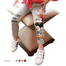 Girls Minnie Mouse Leggings 2020 Spring Cartoon Donald Duck Pants Elastic Waist Children Leggings Baby Girl Casual Pants 3-7Year casual striped color block elastic waist leggings for girls