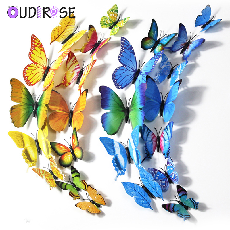 OUDIROSE 12pcs PVC 3d Butterfly Wall Stickers Baby Birthday Home Party Decorate DIY Butterfly Refrigerator Stickers Room Decals