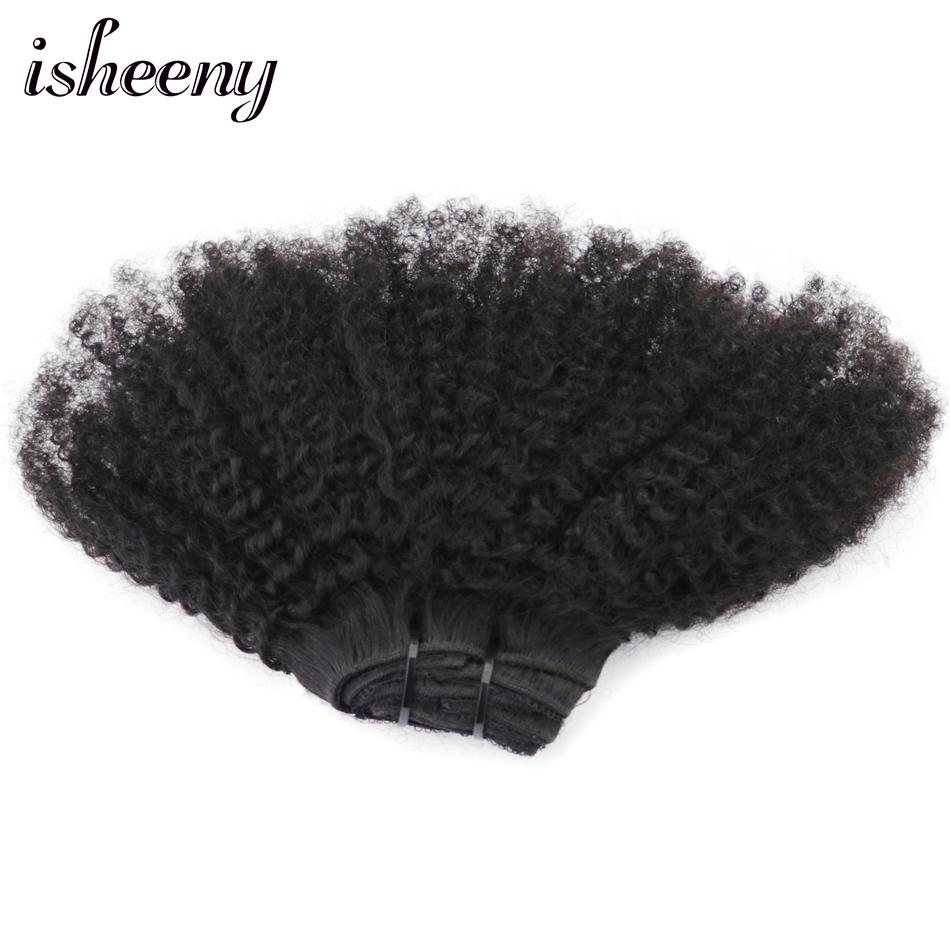 Isheeny 8 pçs/set Afro Encaracolado Kinky Onda Do Cabelo Humano Grampo Em Extensões Do Cabelo 12