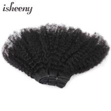 Isheeny 4B 4C Mongolian Afro Kinky Curly Remy Clip In Human Hair Extensions Natural Color 8pcs/set 120g Fast Shipping