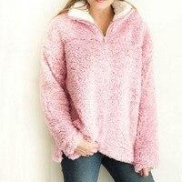 Winter Celmia Fashion Turtleneck Long Sleeve Plush Fluffy Sweatshirt Casual Zipper Solid Warm Pullover Fleece Loose