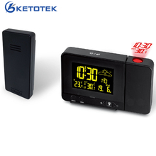 Wireless Weather Station with LCD Digital Projection Alarm Clock Radio Control Snooze Clock Thermometer Temperature Meter