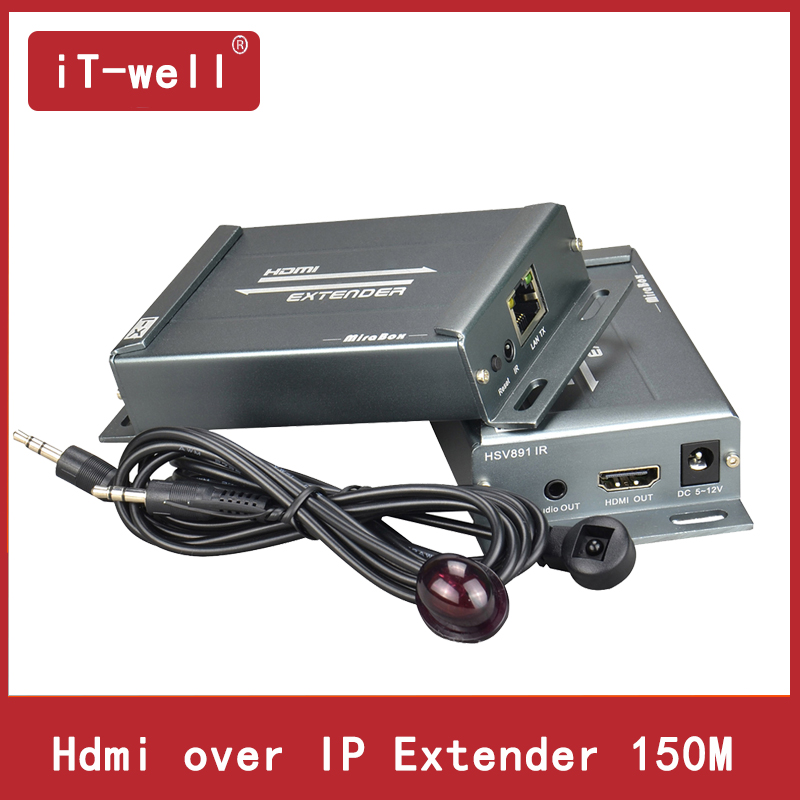 Hdmi Extender ir over TCP/IP with Audio Extractor support 1080p cascade receivers HDMI extender ir by Rj45 UTP/STP 150M hsv900ir 1080p hdmi over home s powerline extender ir with loopout support 300m 984ft transmission hdmi over powerline extender