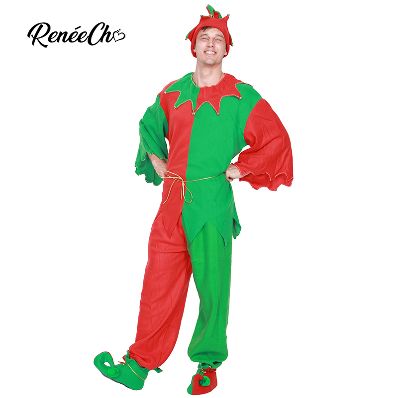 Reneecho 2018 Christmas Costume For Adult Santa Claus Outfit Men Christmas Elf Cosplay Spirit Hat Carnival Party Fancy Dress